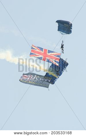 Clacton Essex United Kingdom -25 August 2017: British Army Parachutists at Clacton free airshow