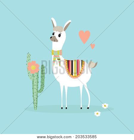 Cute lama and cactus on a blue background. Childs illustration in vector.
