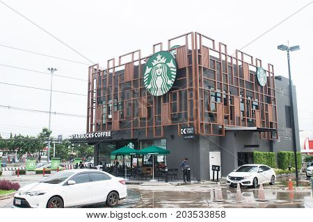 BANGKOK THAILAND - AUGUST 8 2017: Starbucks Coffee is an American chain of coffee shops founded in Bangkok. Starbucks Coffee at The Paseo Karnchanapisek is big and modern design branch.