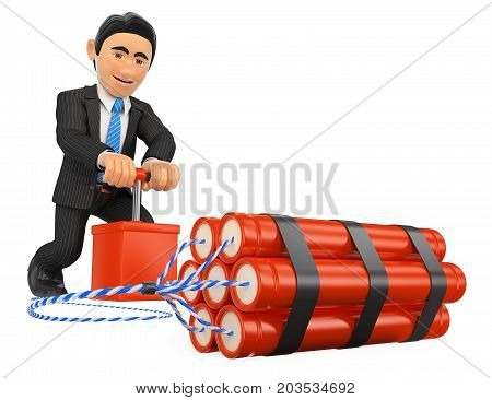 3d business people illustration. 3D Businessman detonating a dynamite bomb. TNT. Isolated white background.