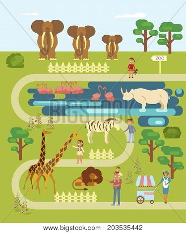 Flat design of animals and people in the Zoo, infographics concept. Elephant, rhinoceros, lion, gazelle, hypo, flamingo, zebra, giraffe isolated on white background. Vector illustration