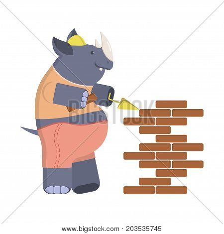 Funny Cartoon builder rhino with trowel and level tool working around a brick wall. Vector illustration eps 10