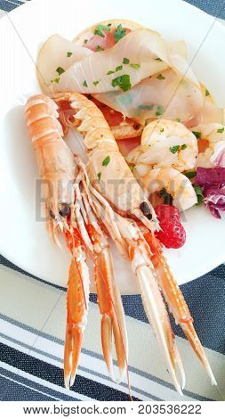 seafood appetizer with prawn tuna carpaccio and grapefruit slices