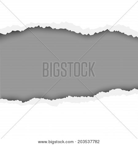 Lacerated hole in white sheet of paper with dark gray background of the resulting window for text, ad and other aims. Template paper design.