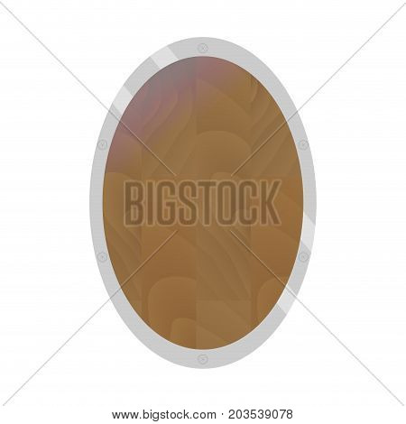 Wooden shield flat. Protection shield vector security emblem banner coat of arms illustration