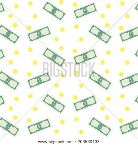 Money banknote and coins seamless pattern. Dollar currency business banknote money falling finance background vector illustration