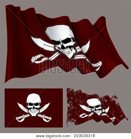 Waving Pirate Flag Skull And Swords