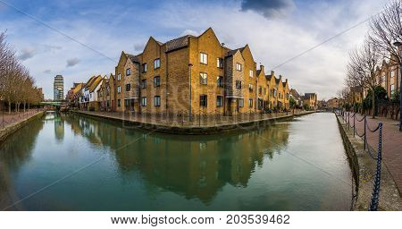 London England - Panoramic view of the Ornamental Canal at St Katharine's & Wapping