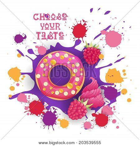 Donut Raspberry Taste Colorful Dessert Icon Choose Your Taste Cafe Poster Vector Illustration