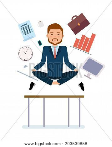 Ready to use character creation set. Businessman meditating to relieve fatigue from work. Business, office work, workplace. Flat design vector illustration.