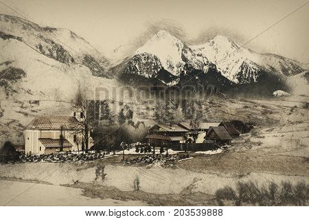 Church and cemetery in Zdiar village with Belianske Tatry mountains Slovak republic. Pencil drawing.