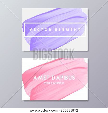 Abstract pastel color art painting isolated on white background. Woman minimal modern business cards design template