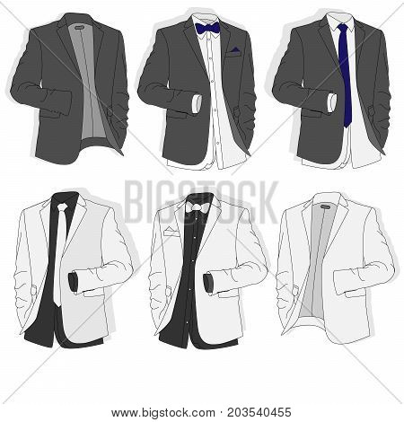 Men's Jacket. Ceremonial Men's Suit, Tuxedo. Illustration.