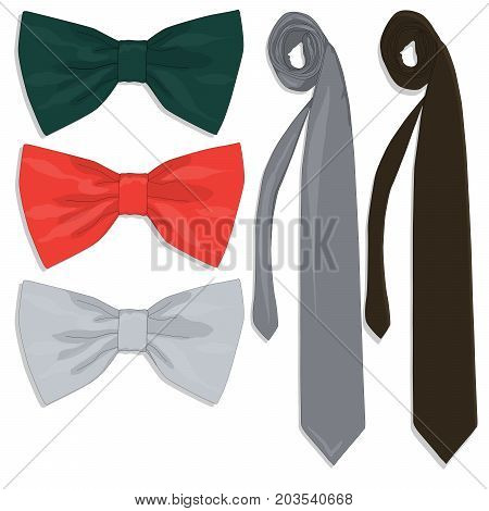Tie Collection. Bow Tie. Fine Illustration.