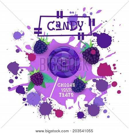 Candy Blackberry Lolly Dessert Colorful Icon Choose Your Taste Cafe Poster Vector Illustration