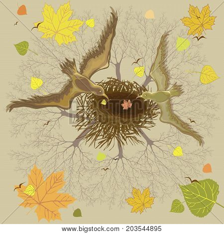 Illustration of birds and an empty nest on a background of autumn forest