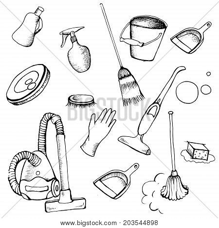 Set of object for cleaning services, maintenance. Vector set of object