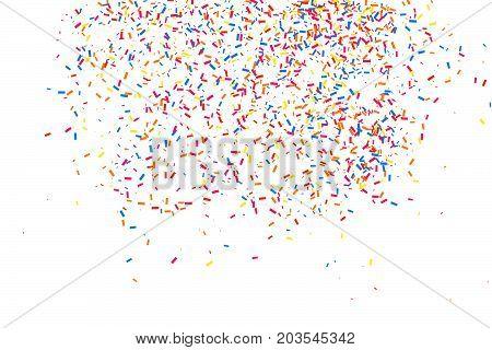 Colorful Explosion Of Confetti.  Colored Grainy Texture Vector.