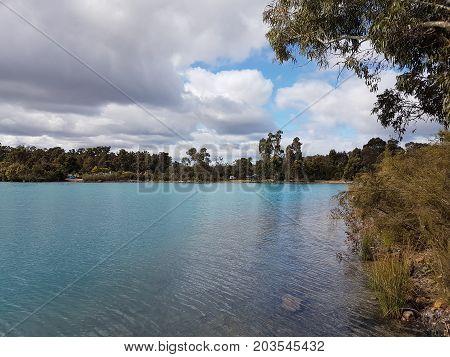 Bright blue water in Stockton Lake, Collie Western Australia