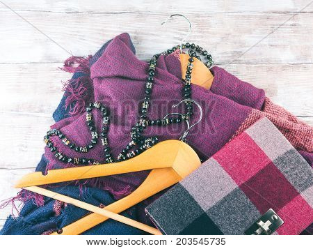 Wooden Clothes Hangers. Winter Woman Accessories