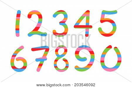 vector arabic numerals set on a white background