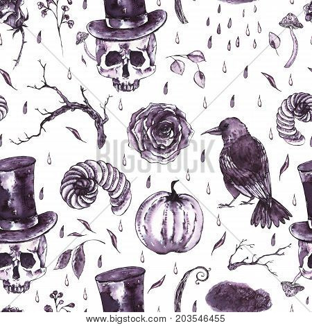 Monochrome watercolor hand drawn seamless pattern with skull, horns, dry twigs, fly agarics, raven and vampire hat. Black and white illustration on white background.