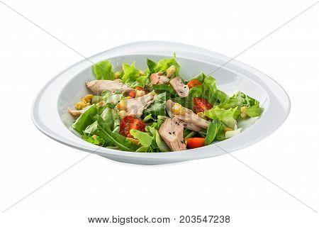 Cunsei Sarada Salad  Plate - Isolated On White