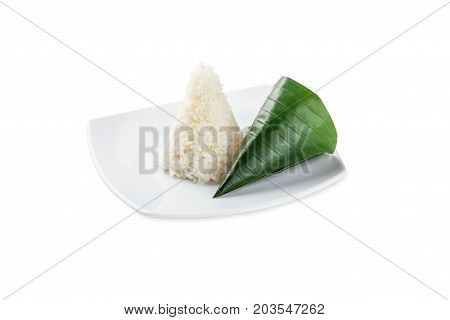 Plate Of Organic White Rice - Isolated On White