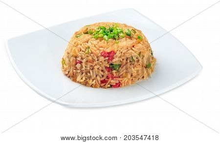 Yasai Tyahon - Rice With Vegetables Plate Isolated On White