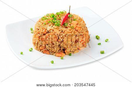 Saki Tyahon - Salmon With Rice Plate Isolated On White