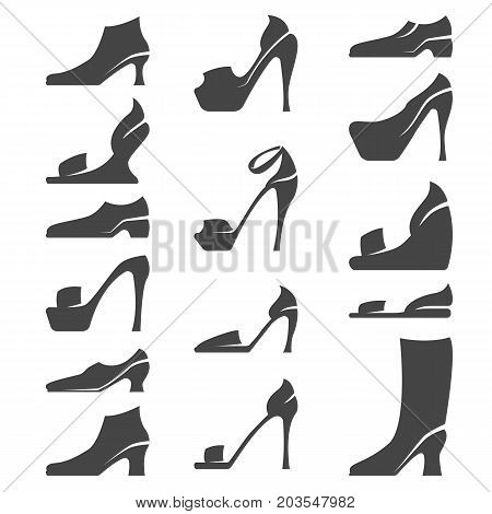 Set of women and men shoes icons silhouettes. Vector illustration of high-heeled shoes on white background - stock vector