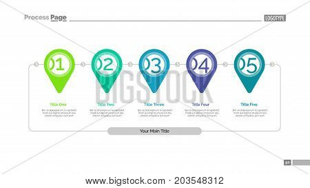 Timeline pin pointer slide template. Business data. Graph, diagram, design. Creative concept for infographic, report. Can be used for topics like workflow, locations, sequence