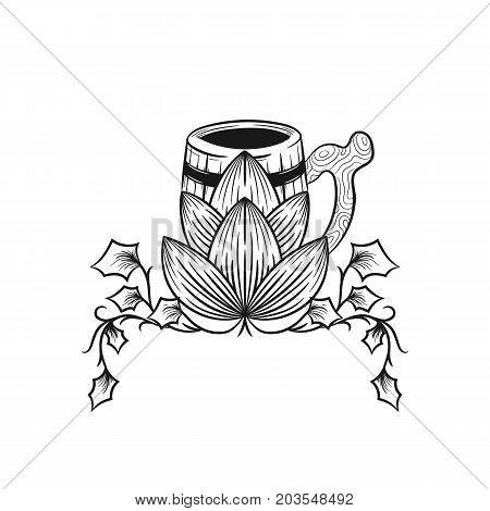Mug of beer with hops. Beer logo. Hop cones Stylish hop branch hand drawn vector illustration