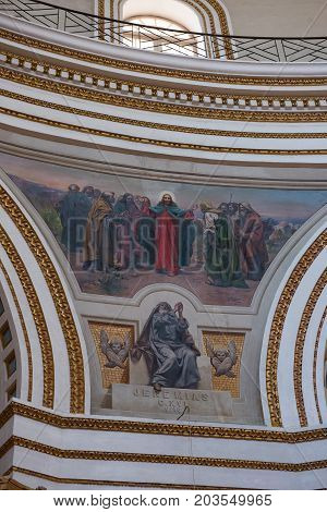 Interior Of The Dome Of The Mosta Rotunda. Malta