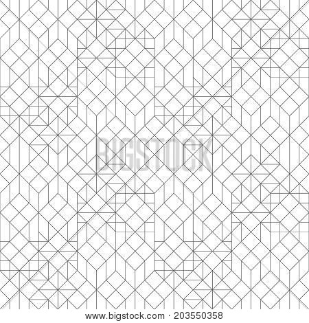 Vector seamless pattern. Modern stylish texture with thin lines which form regularly repeating tiled hexagonal linear grid with hexagons triangles squares rhombuses. Trendy geometric design.