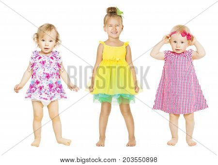 Baby Girls in Dress Kids Group Toddler Children Isolated over White one three years old