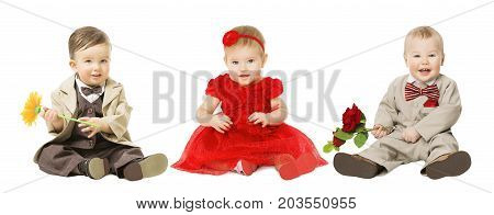 Babies Kids Well Dressed Elegant Children with Flower Fashion Boy and Girl Isolated over White