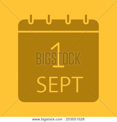 September 1st glyph color icon. Silhouette symbol. Back to school. Negative space. Vector isolated illustration
