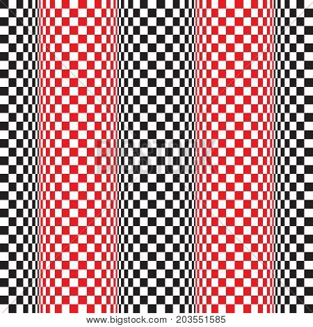 Seamless op art wave motion distortion pattern background. Vector Illustration.