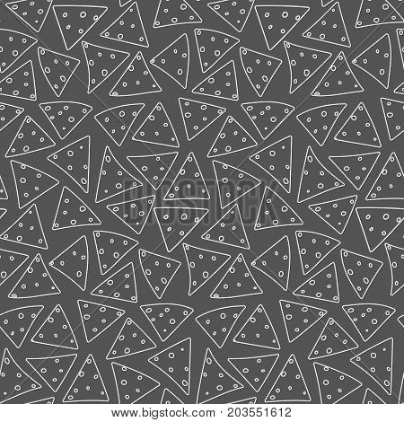 Seamless pattern with outline white nachos on black background. Cute linear mexican fast food texture for textile, wallpaper, background, cover, banner, bar and cafe menu design