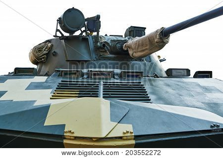 Combat module with a gun for an armored personnel carrier. Isolated on a white background
