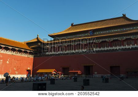 Beijing, China - July 29, 2012: People at the entrance of the Forbidden City in the city of Beijing, in China