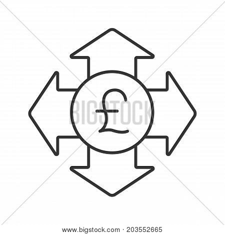 Money spending linear icon. Thin line illustration. Great Britain pound with all direction arrows. Expanses contour symbol. Vector isolated outline drawing