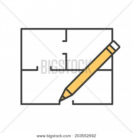 Floor plan, flat blueprint with pencil color icon. Apartment layout. House engineering. Building business. Property development. Isolated vector illustration