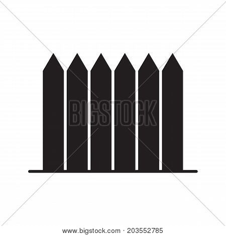 Wooden fence, palisade, picket glyph icon. Private property silhouette symbol. Negative space. Vector isolated illustration