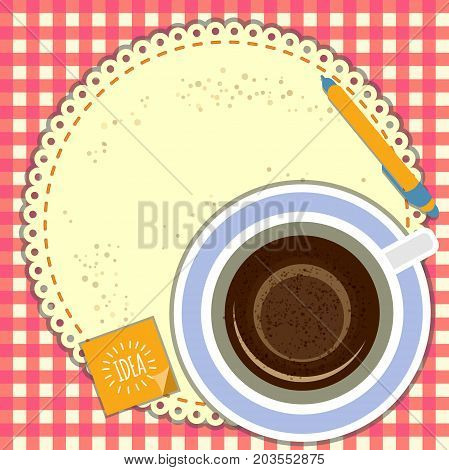 Vector hand draw illustration - good morning. Hot coffee, a napkin that serves as a background for your ad. vector illustration