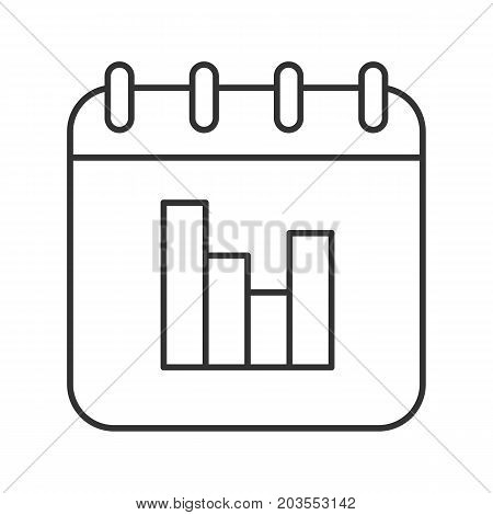 Calendar statistics linear icon. Thin line illustration. Calendar page with stats diagram contour symbol. Vector isolated outline drawing