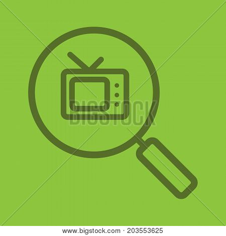 TV channel stream search color linear icon. Magnifying glass with tv-set. Thick line outline symbols on color background. Vector illustration