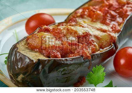 Vinete umplute - Romanian Stuffed Eggplant close  up meal