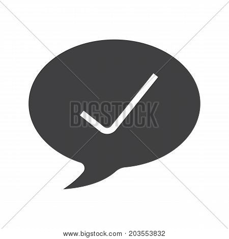 Confirmation glyph icon. Silhouette symbol. Tick mark inside chat bubble. Negative space. Vector isolated illustration